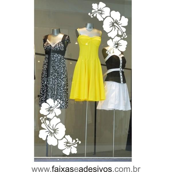Flores Praia Recortado Adesivo Branco 2 jogos  - FAC Signs Impressão Digital