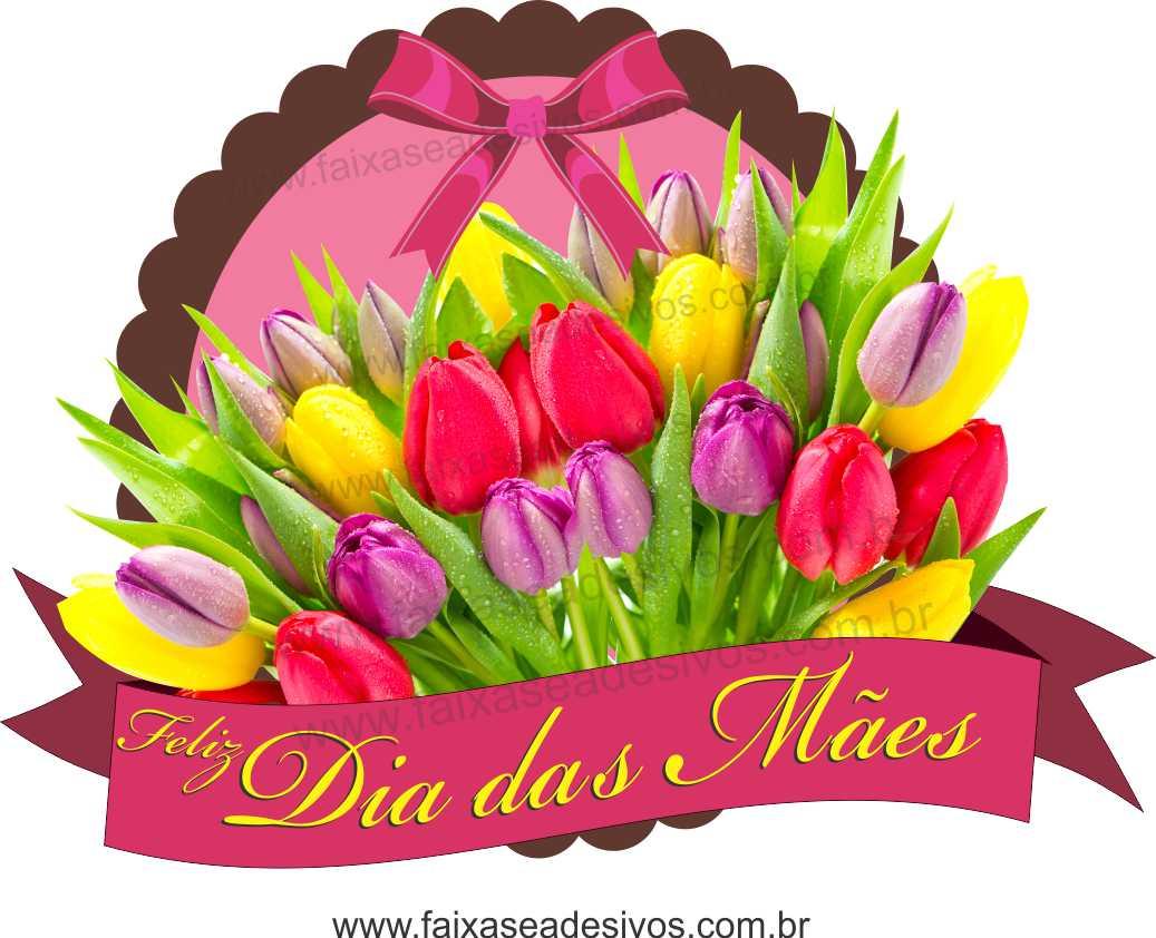 A548M - Adesivo Dia das Mães - Flamula de Flores  - FAC Signs Impressão Digital