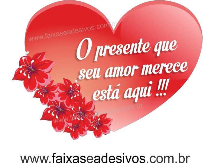 0A306N - Adesivo Dia dos Namorados - Coração com Flor  - Fac Signs