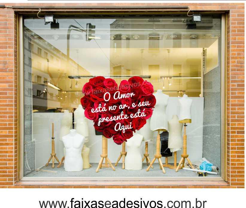 0A307N - Adesivo Dia dos Namorados - Coração de rosas  - Fac Signs