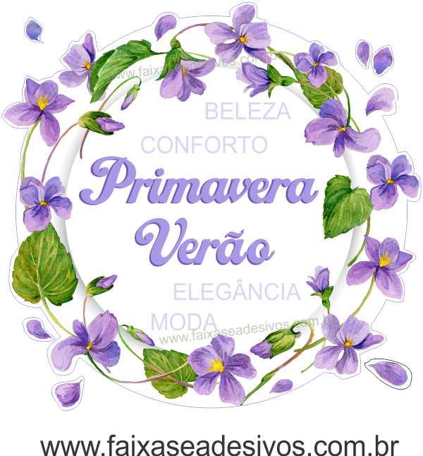A500 - Adesivo Primavera-Verão - Guirlanda de Violetas  - Fac Signs