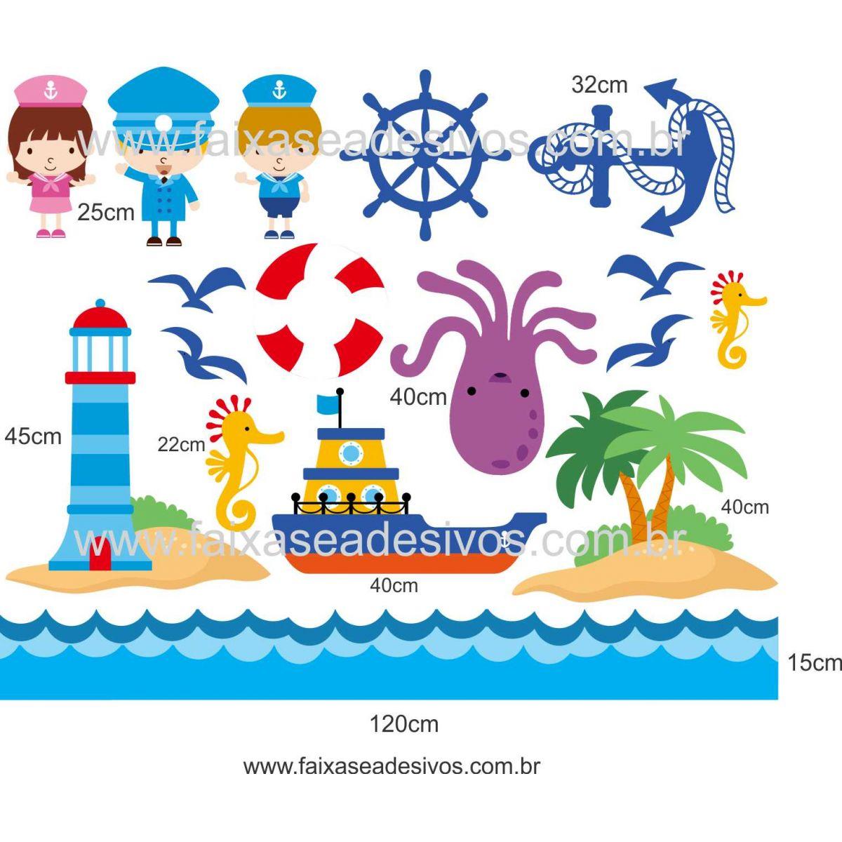 A701 - Dia das Crianças - Adesivo Náutico Infantil barrado 2  - Fac Signs