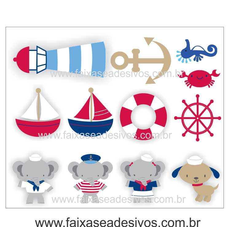 A704 - Dia das Crianças - Adesivo Náutico Infantil cartela bichinhos  - Fac Signs