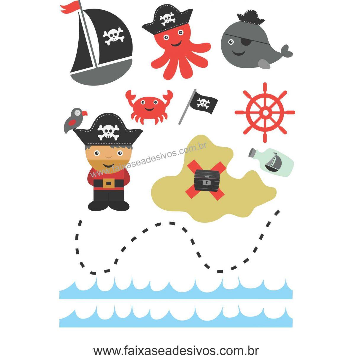 A712 - Dia das Crianças - Adesivo Náutico Pirata  - Fac Signs