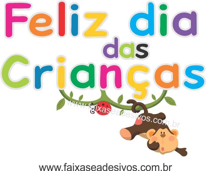 A714 - Dia das Crianças - Adesivo Texto cores Macaquinho Feliz  - Fac Signs