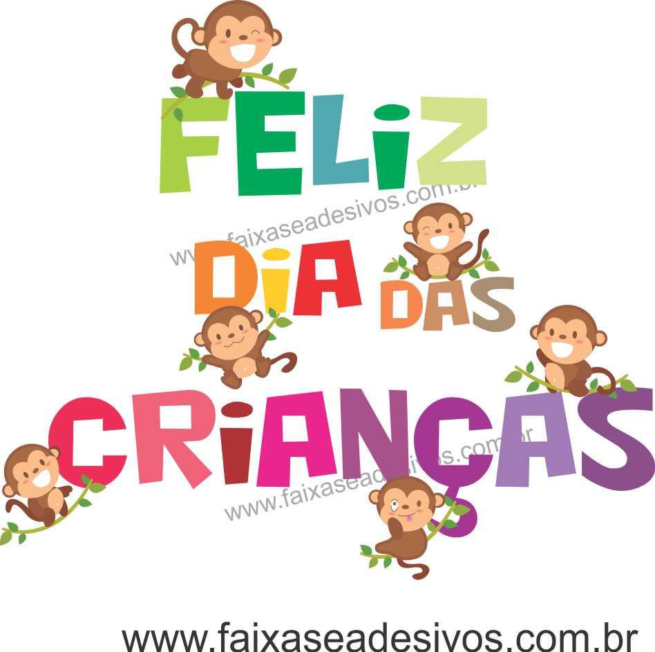 A715 - Dia das Crianças - Adesivo Texto cores Macaquinhos  - Fac Signs
