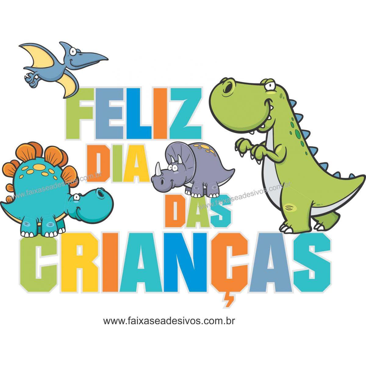 A718 - Dia das Crianças - Adesivo Texto de Dinossauros  - Fac Signs