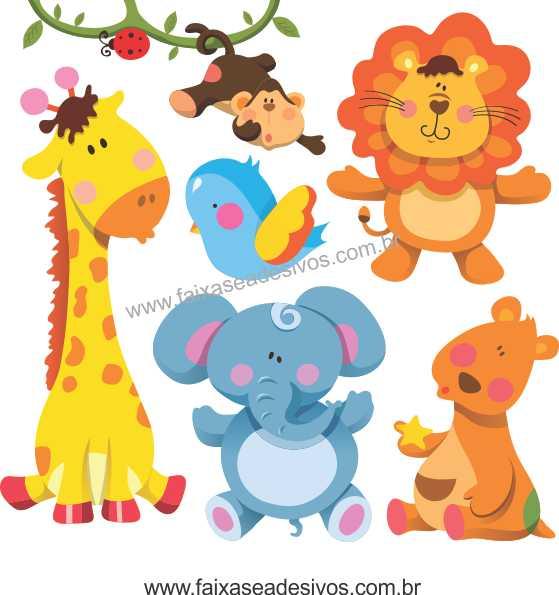 A721 - Dia das Crianças - Cartela de Adesivos Zoo  - FAC Signs Impressão Digital