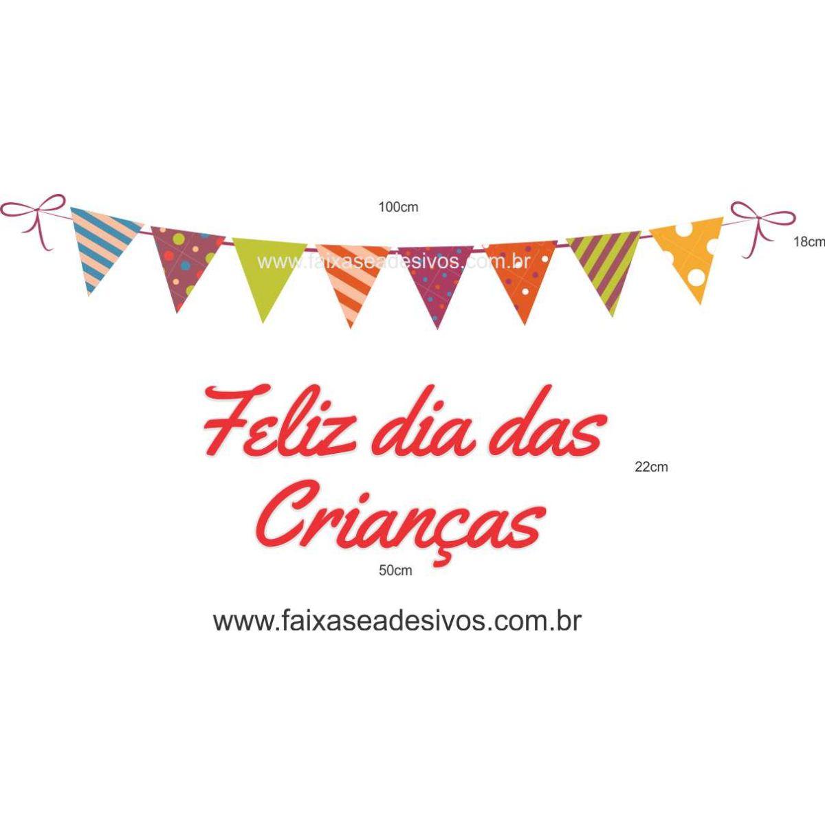 A722 - Dia das Crianças - Texto com bandeirinhas  - Fac Signs
