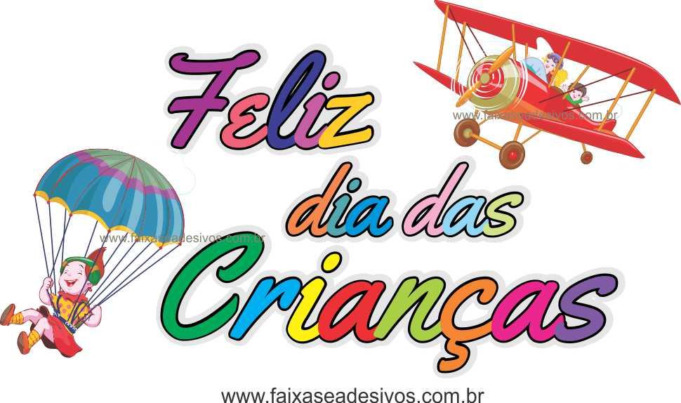 A724 - Dia das Crianças - Texto Avião com paraquedas  - Fac Signs