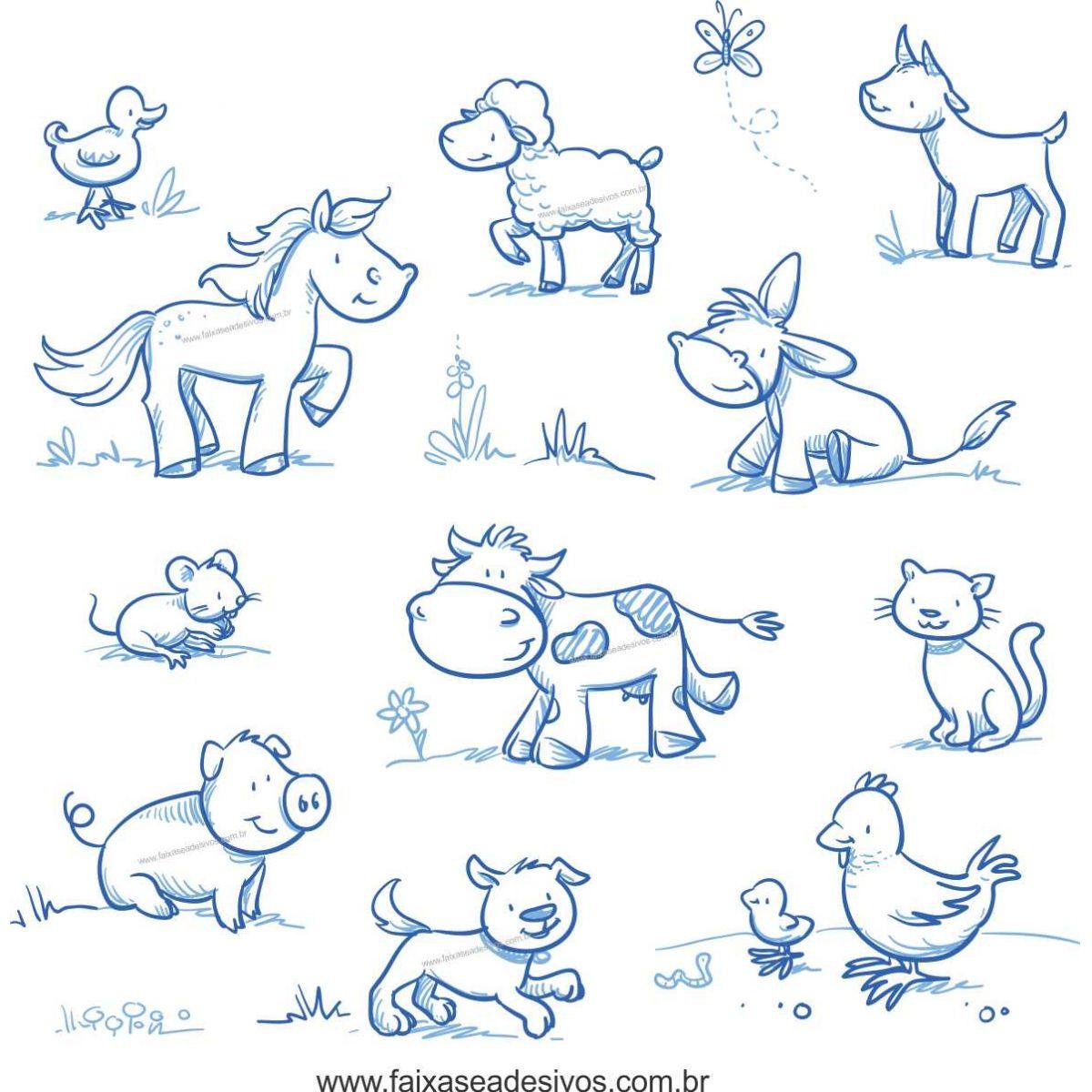 033 - Adesivo Decorativo Cartela Animais riscados fazenda  - Fac Signs