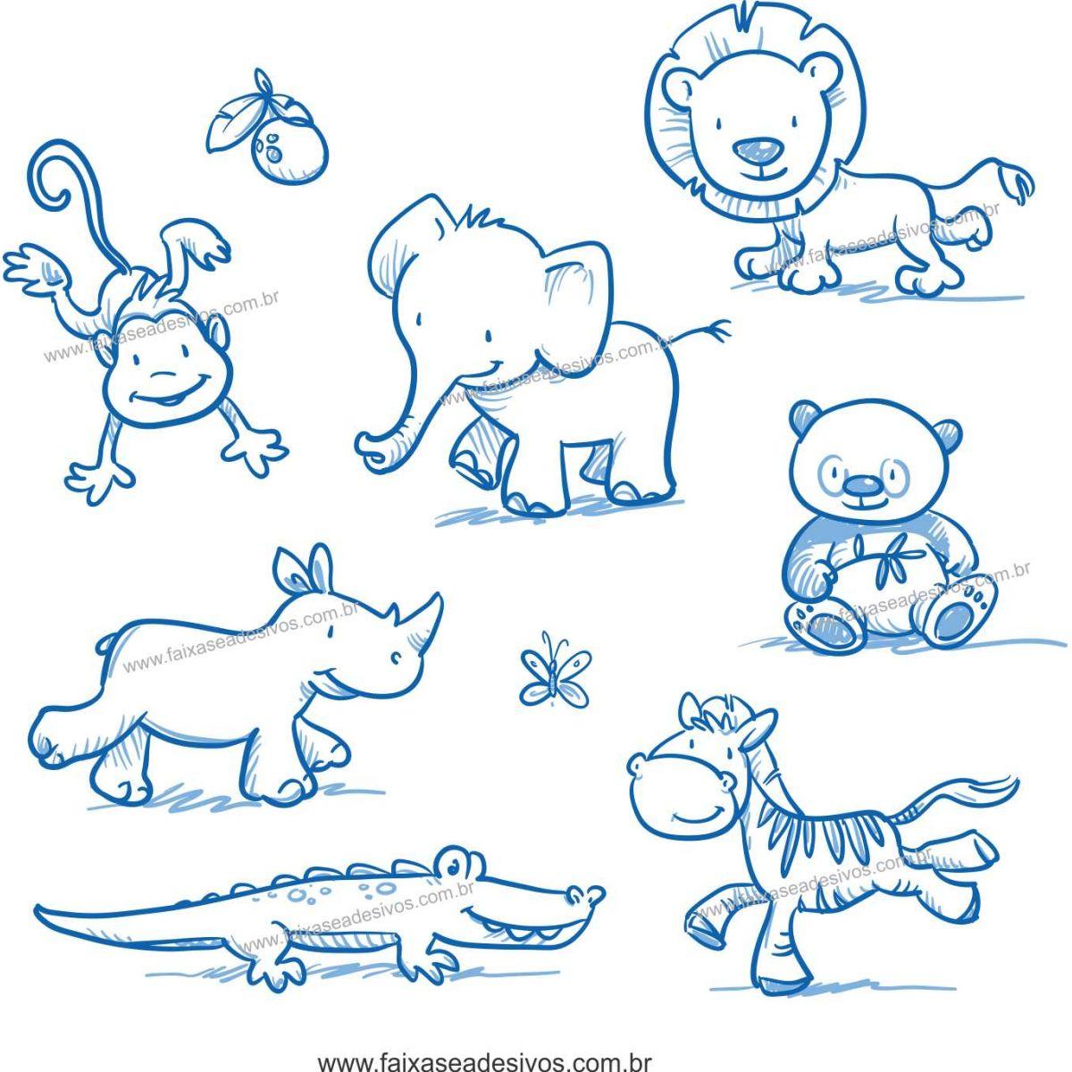 034 - Adesivo Decorativo Cartela Animais riscados Safari  - Fac Signs