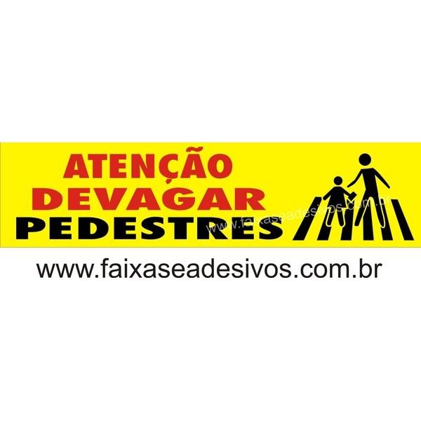 Pedestre Placa de Sinalização 25x100cm - 2mm  - FAC Signs Impressão Digital