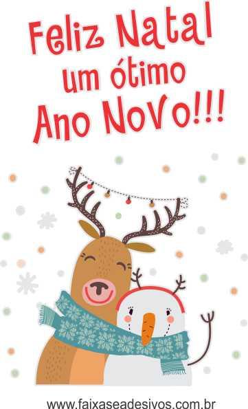 1208 - Adesivo Rena de Natal com Boneco de Neve 120x80cm  - FAC Signs Impressão Digital