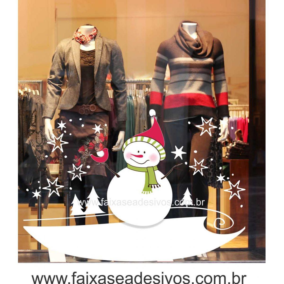 1213 - Adesivo de vitrine de Natal - Boneco de Neve 120x90cm  - Fac Signs