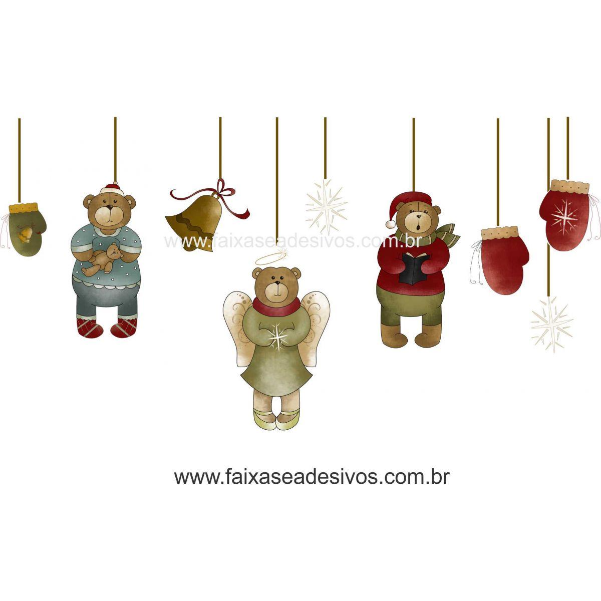 1214 - Adesivo de Natal Pendurikalho de Ursos  - Fac Signs