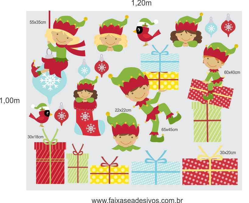1215 - Cartela de adesivos para o Natal - Duendes  - FAC Signs Impressão Digital