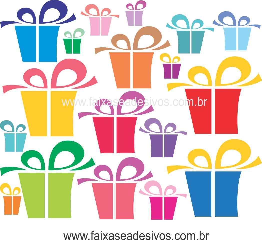 1219 - Cartela de Adesivo Barrado de presentes - Aplique como preferir  - Fac Signs