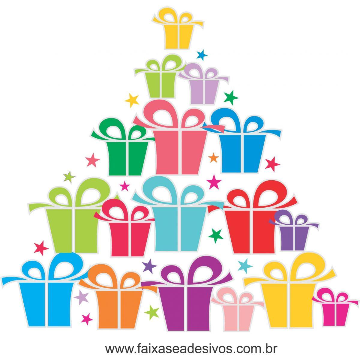 1220 - Adesivo Arvore de Natal de caixas de presentes  - Fac Signs