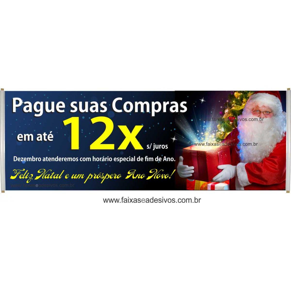 Faixa de Natal 02 - Tamanho 3,00x0,90m - fazemos com seu texto!  - FAC Signs Impressão Digital