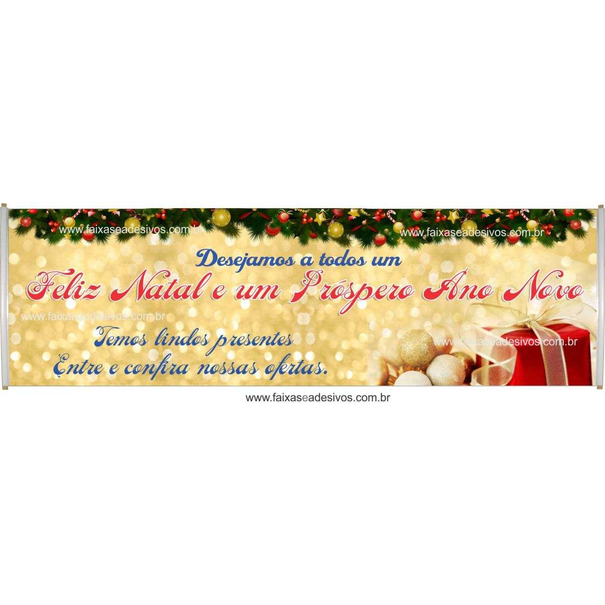 Faixa de Natal 05 - Tamanho 2,00x0,70m - fazemos com seu texto! Mensagem de Natal  - Fac Signs