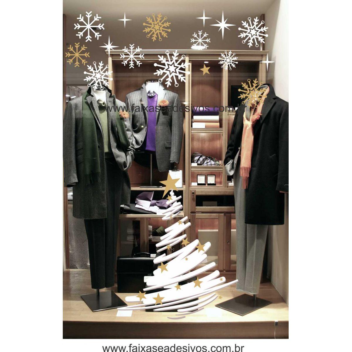 1232 - Adesivo Arvore de Natal com Neve - Cartela  - Fac Signs