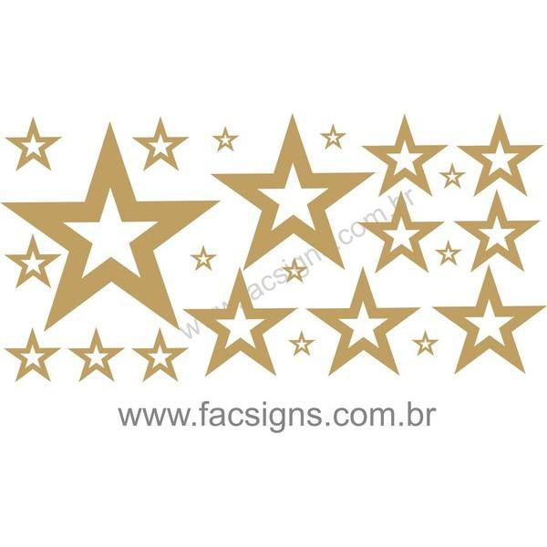 Estrelas Adesivo Dourado vasado 50x100cm  - FAC Signs Impressão Digital