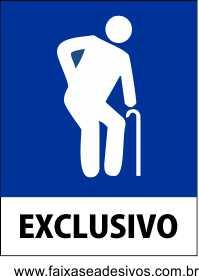 Identificação Vaga Exclusiva Idosos - Adesivo ou Placa - Vários Tamanhos  - Fac Signs