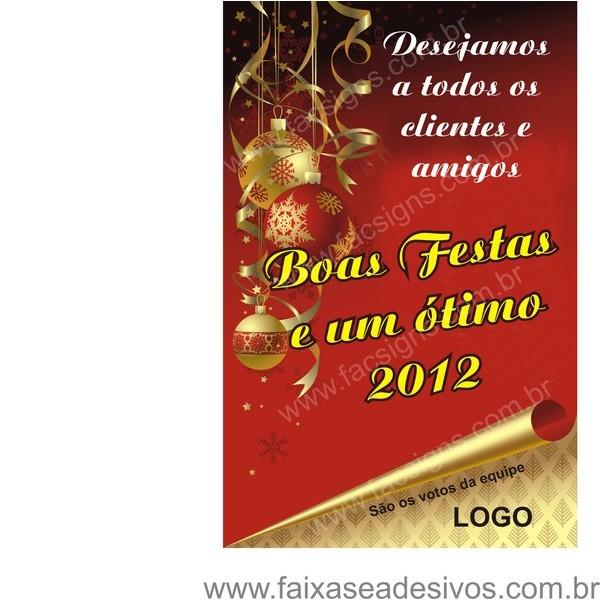 Banner Boas Festas Pergaminho 125x80cm  - FAC Signs Impressão Digital