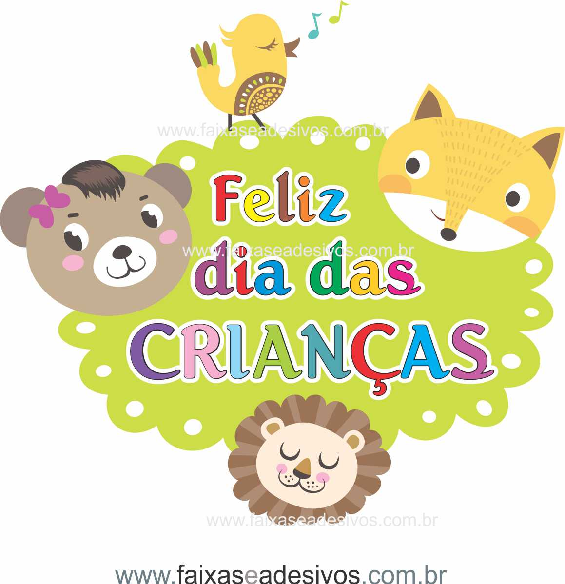 ADC696 - Adesivo Dia das crianças Bichinhos  - FAC Signs Impressão Digital