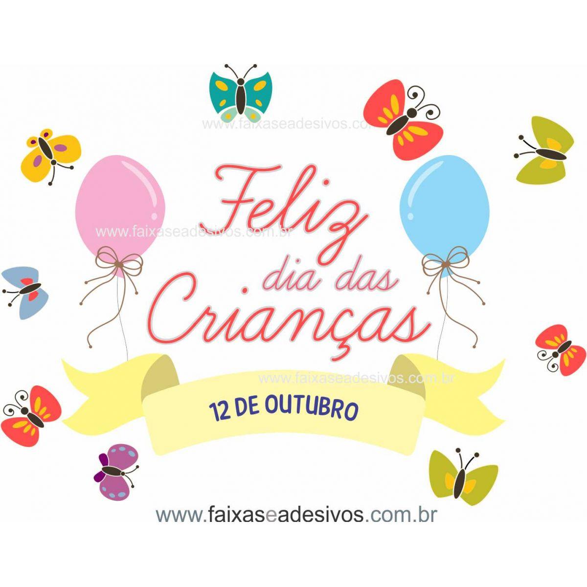 ADC695 - Adesivo Dia das crianças Borboletas e balão  - Fac Signs