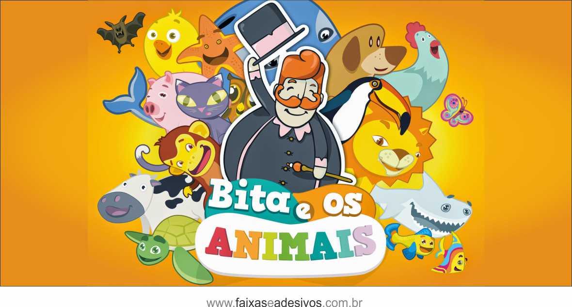 Painel de Aniversário 214 - Bita e os animais  - Fac Signs
