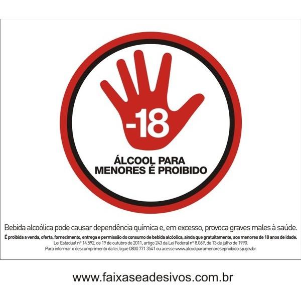 Proibido Bebida Alcoólica menores 18 anos  - placa ou adesivo 20x25cm  - FAC Signs Impressão Digital