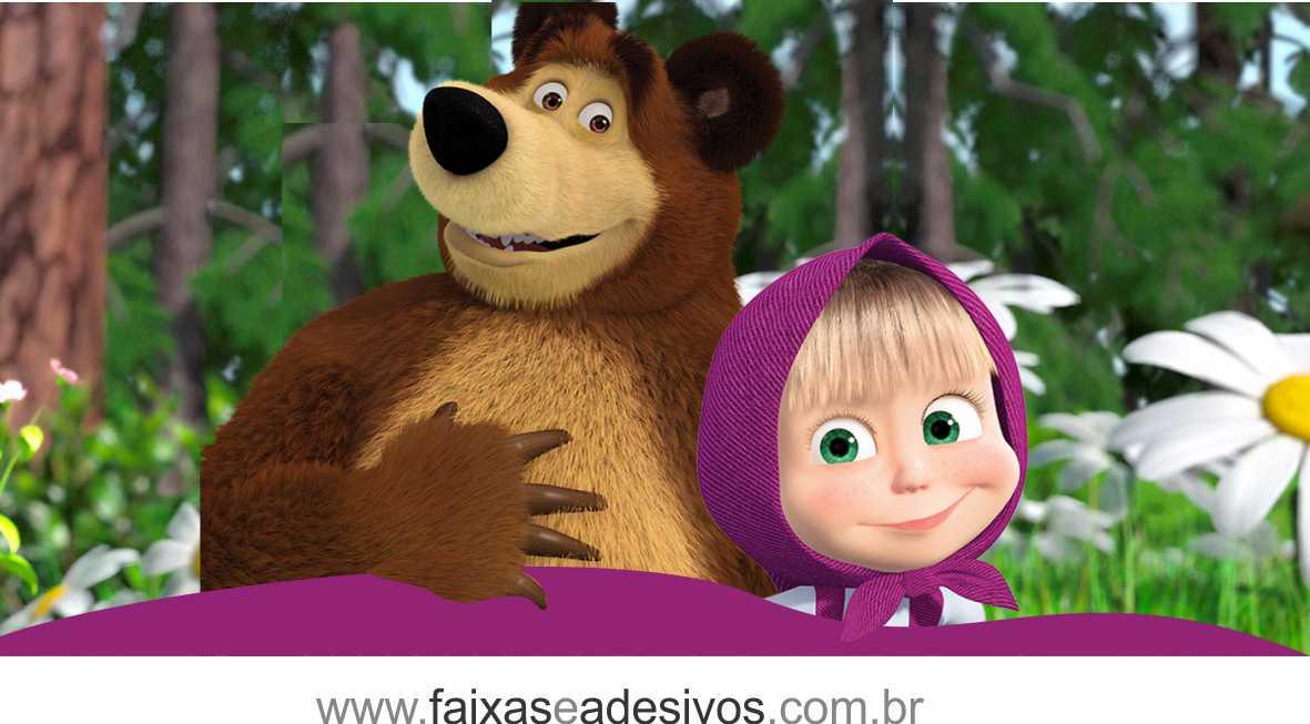 Painel de Aniversário 216 - Masha e o Urso 2  - Fac Signs