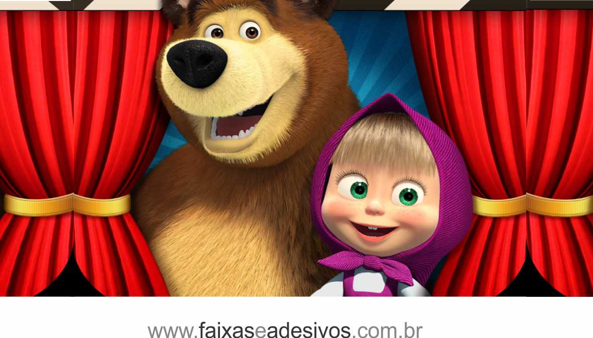 Painel de Aniversário 217 - Masha e o Urso 3  - FAC Signs Impressão Digital