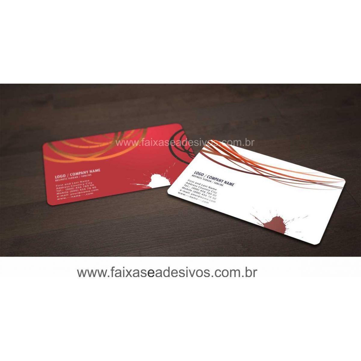 017G - Cartão de Visita 4x4 cor - Laminação Fosca - Cantos arredondados  - Fac Signs