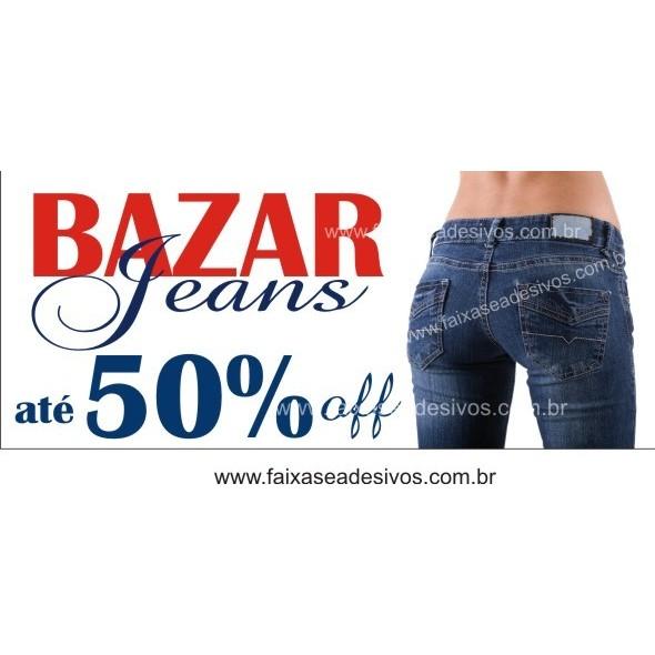 Bazar Jeans Faixa em Lona 85x200cm  - FAC Signs Impressão Digital