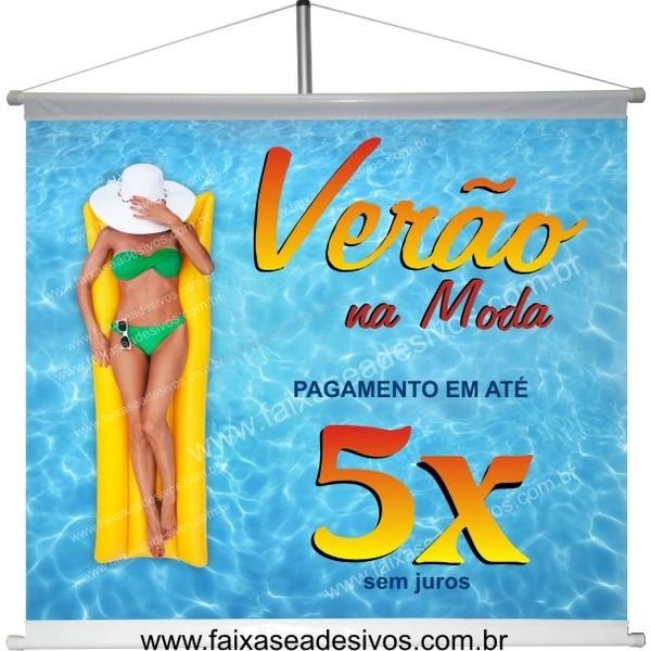 Banner de Verão na Piscina 80x70cm  - FAC Signs Impressão Digital