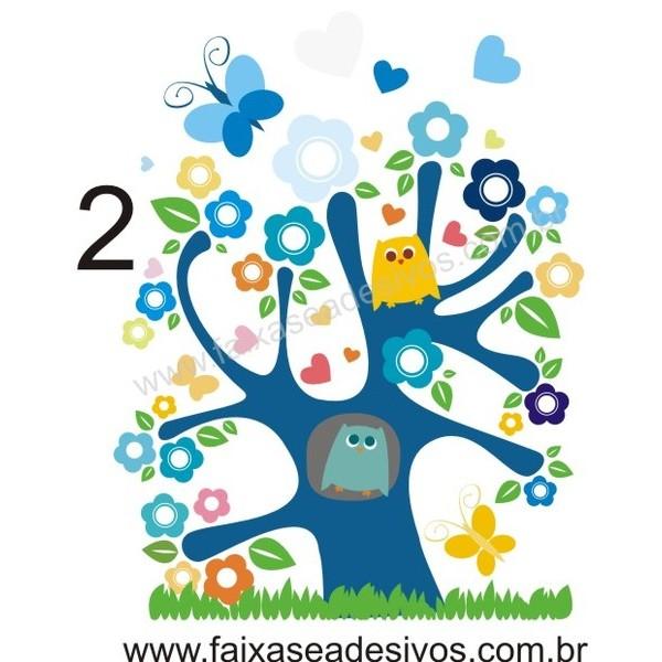 018 - Arvore Infantil Coruja Cores 110x80cm  - FAC Signs Impressão Digital