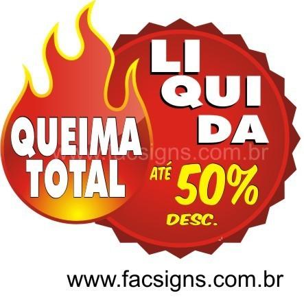 Adesivo Liquidação queima total -  vários tamanhos  - FAC Signs Impressão Digital