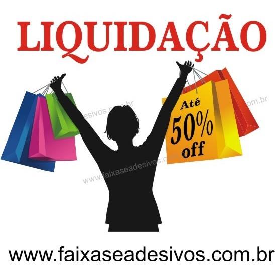 Adesivo liquidação sacolas até 50% - 60x50cm  - FAC Signs Impressão Digital