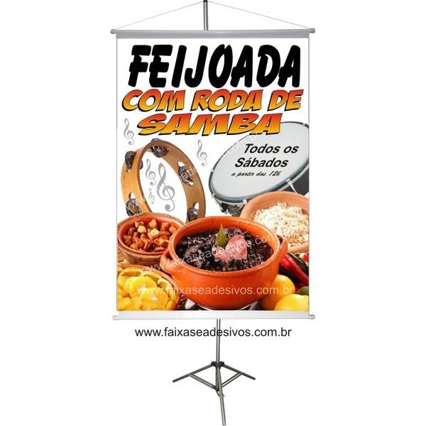 Banner Feijoada com roda de samba 100x70cm  - FAC Signs Impressão Digital