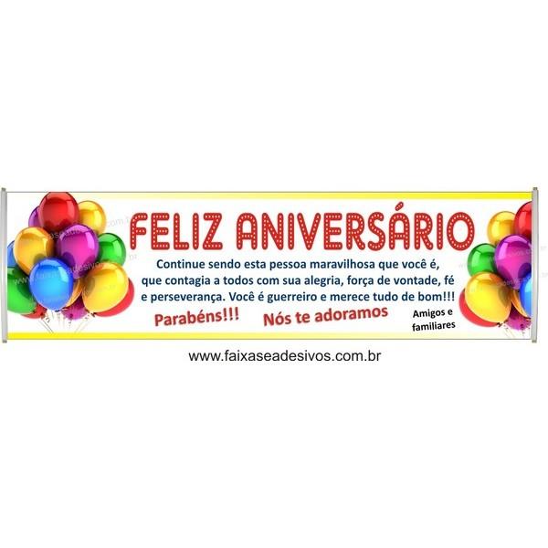 546 - Faixa Aniversário balões coloridos 2,50 x 0,70m  - FAC Signs Impressão Digital