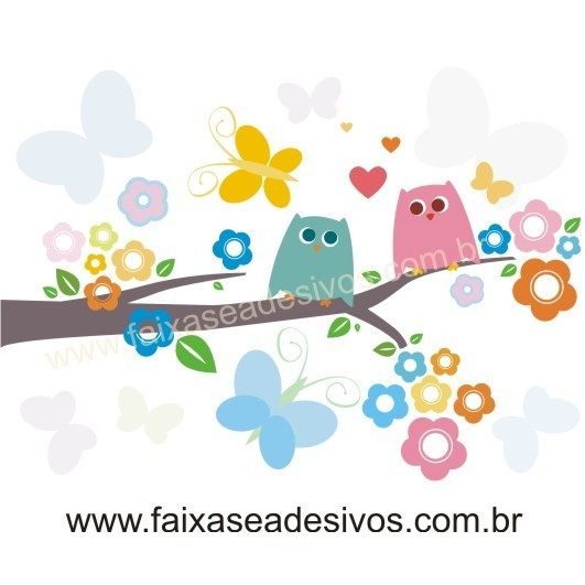 Infantil Adesivo Decorativo galho coruja cores 90x70cm  - FAC Signs Impressão Digital