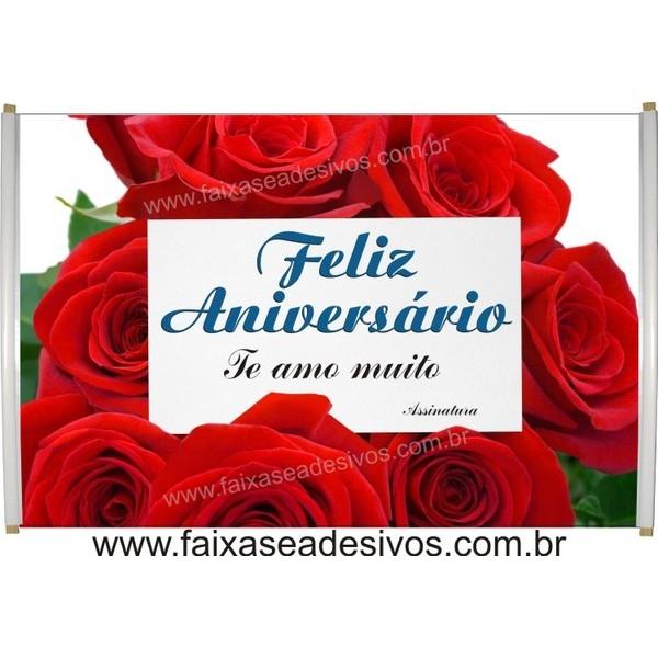 551 - Faixa Aniversário Rosas Vermelhas 1,20 x 0,70m  - FAC Signs Impressão Digital