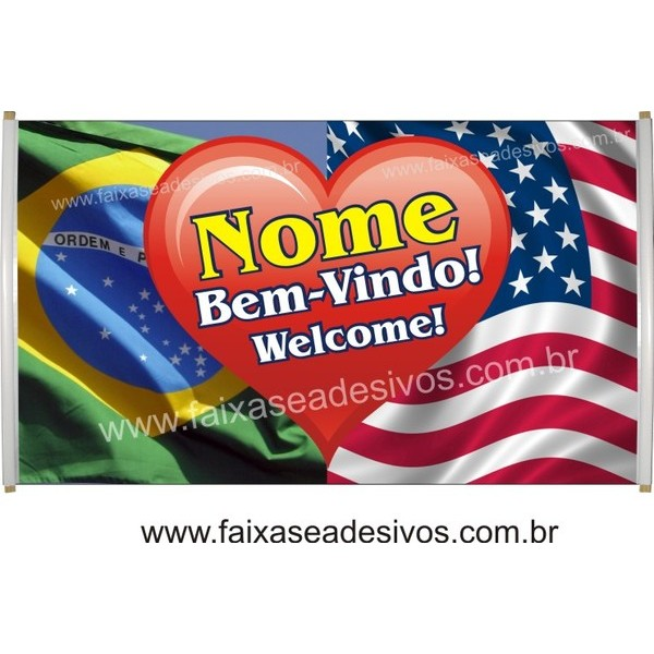 Faixa Intercâmbio Welcome! 1,20 x 0,70m  - FAC Signs Impressão Digital
