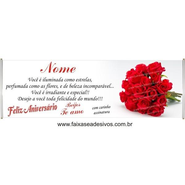 548 - Faixa Aniversário Buquê de Rosas 2,20 x 0,70m  - FAC Signs Impressão Digital