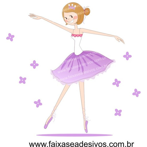 Infantil Bailarina com flores- Adesivo Decorativo 80x60cm  - FAC Signs Impressão Digital