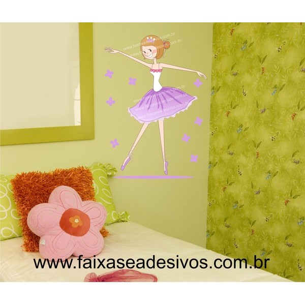 Infantil Bailarina com flores- Adesivo Decorativo 80x60cm  - Fac Signs