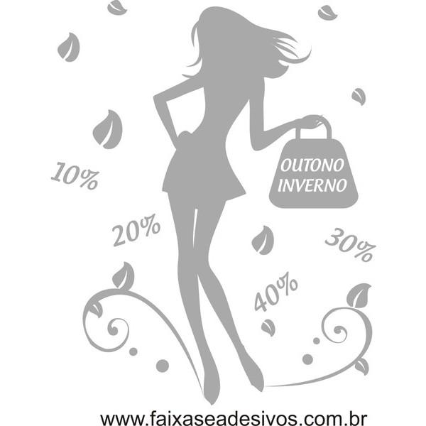 Outono-Inverno Adesivo de vitrine Branco - 80x60cm  - FAC Signs Impressão Digital